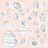 Graphic set of sweets Decorative hand drawn dessert collection EPS 10  vector