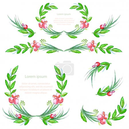 Watercolor floral design elements. Brushes, borders, wreath,garland. Vector