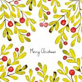 Merry Christmas Grating card Holiday post card template watercolor illustrated Vector
