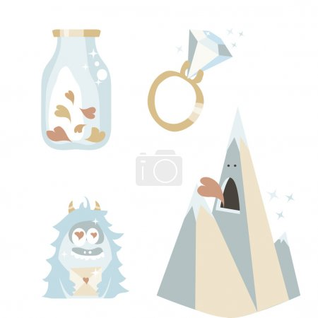 Vector illustrated Valentine's Day icon set. Hearts jar. Love monster. Diamond ring and love rock. Creative cute elements for design.  Pink and blue pastel objects