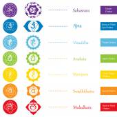 Chakras icons  The concept of chakras used in Hinduism Buddhism and Ayurveda For design associated with yoga and India Vector illustrated