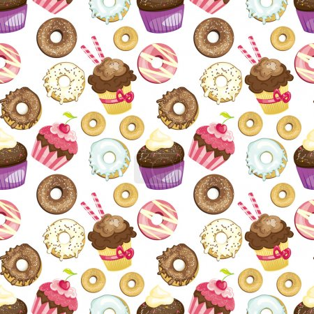 Illustration pour Fond sans couture avec différents bonbons et desserts. donuts carrelés et motif cupcakes. Texture de papier d'emballage mignon. Vecteur illustré - image libre de droit