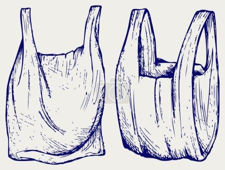 Illustration pour Différents sacs en plastique. Style caniche - image libre de droit