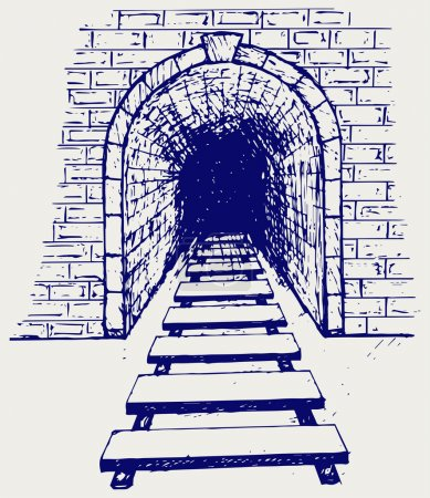 Illustration for Railway tunnel. Doodle style - Royalty Free Image