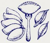 Dumplings food set Doodle style