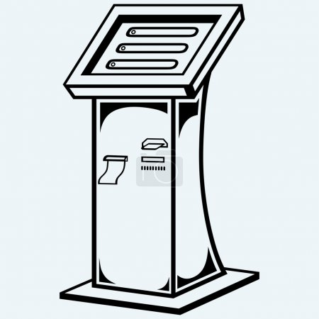 Illustration for Interactive information kiosk. Terminal stand screen display console infokiosk. Isolated on blue background - Royalty Free Image