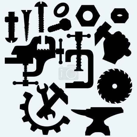 Set of tools: vice, spanner, hammer, circular saw blade, anvil and screws