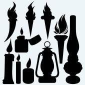 Hot stuff: candle flaming torches kerosene lamp and metal zippo lighter