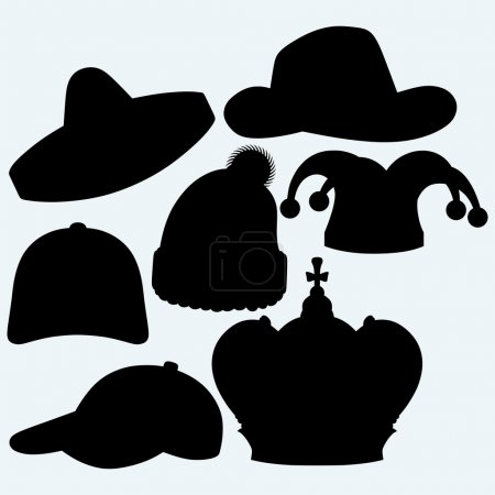 Illustration for Set of headgear. Crown, winter hat, baseball cap, cowboy hat, jester hat and mexican. Isolated on blue background. Vector silhouettes - Royalty Free Image