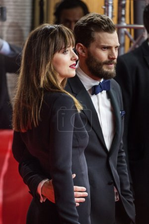 Photo for BERLIN, GERMANY - FEBRUARY 11: Jamie Dornan and Dakota Johnson attend the 'Fifty Shades of Grey' premiere during the 65th Berlinale International Film Festival at Zoo Palast on February 11, 2015 in Berlin, Germany. - Royalty Free Image