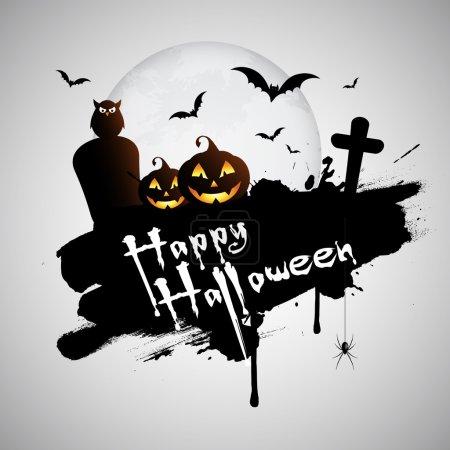 Photo pour Grunge fond d'Halloween avec tombes, citrouille et araignée suspendue - image libre de droit