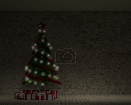 Empty Room with Christmas Tree
