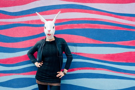 woman wearing rabbit mask
