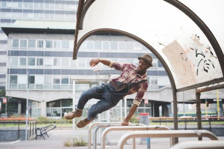 afro black man jumping