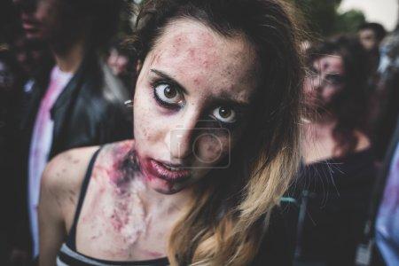 zombies parade held in Milan october 25, 2014