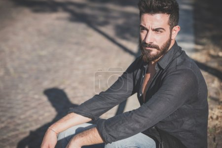 Photo for Young handsome attractive bearded model man in urban context - Royalty Free Image