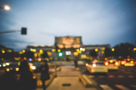 blurred urban milan landscape