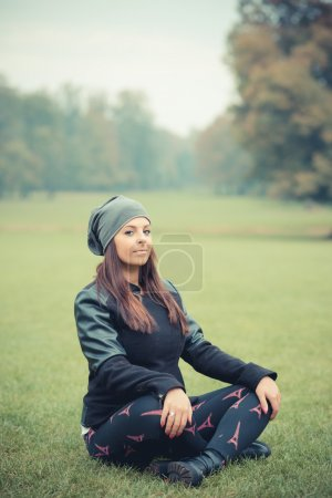 young beautiful girl in park