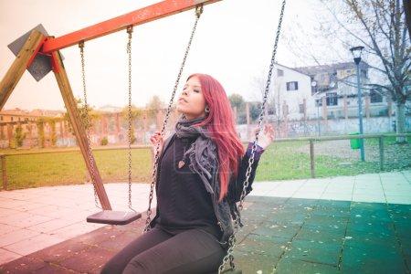 woman having fun at playground