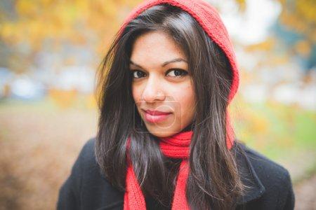 beautiful  indian woman at park