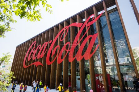 Photo for MILAN, ITALY - JUNE 3, 2015 People visit Expo 2015, universal exposition on the theme of food - Coca Cola Pavilion - Royalty Free Image