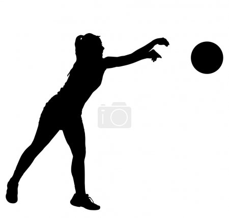 Illustration for Black on white silhouette of korfball ladies league player girl throwing ball - Royalty Free Image