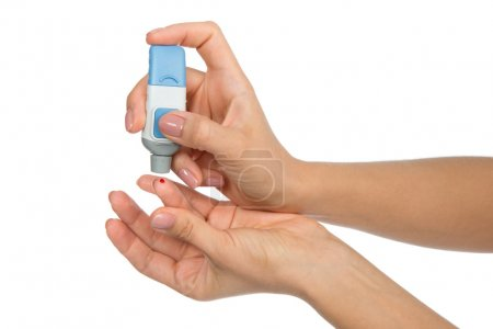 Flesh blood diabetes patient finger to make glucose level blood