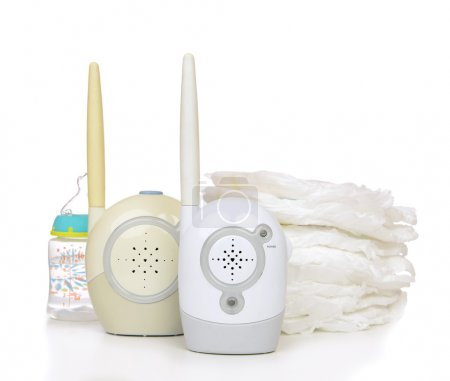 Child baby kid radio monitor device stack of diapers with baby f