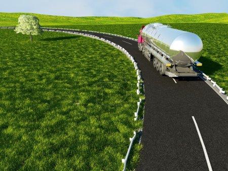 Photo pour Camion sur le fond de champ vert . - image libre de droit