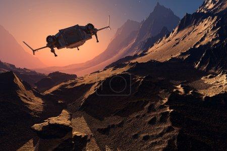 Photo pour Navire spatial sur le fond de la planète. 3d rendu - image libre de droit