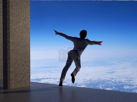 Photo pour Un homme d'affaires décolle du sol  . - image libre de droit