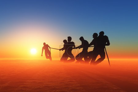 Photo for Silhouettes of people pulling the rope. - Royalty Free Image