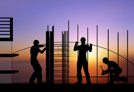 Photo for Silhouette of the workers on a background of the sky - Royalty Free Image