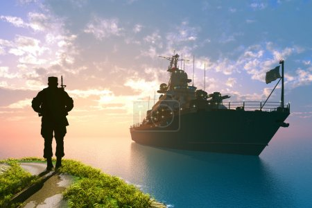 Photo pour Le navire militaire dans la mer - image libre de droit