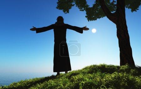 Photo pour Le prêtre sur la plage . - image libre de droit