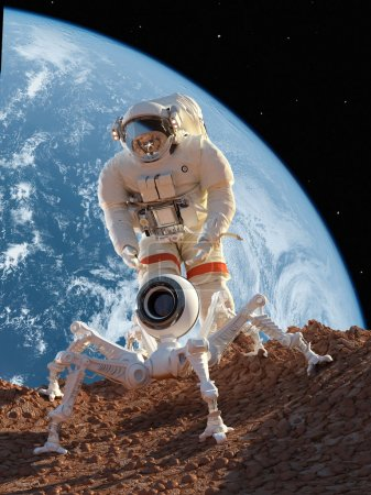 """Photo for Astronaut and robot on the planet""""Elemen ts of this image furnished by NASA"""" - Royalty Free Image"""