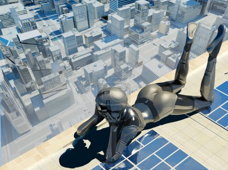 Photo pour Cyborg on the roof of a skyscraper. - image libre de droit