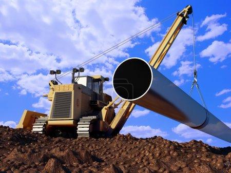 Photo pour Machines de construction pose de tuyaux dans le sol . - image libre de droit