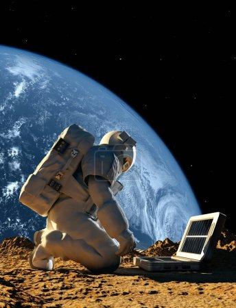 """Photo pour Astronaute avec l'appareil sur la planète. """"Elemen ts de cette image fournie par la NASA """" - image libre de droit"""