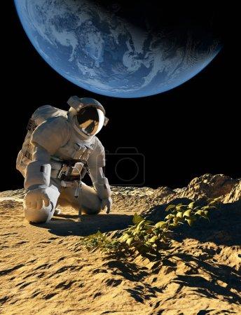 Astronaute à genoux