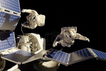 Photo pour Astronautes dans l'espace autour de le battarei solaire. - image libre de droit