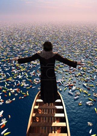 Photo pour Le prêtre dans une barque parmi les débris . - image libre de droit