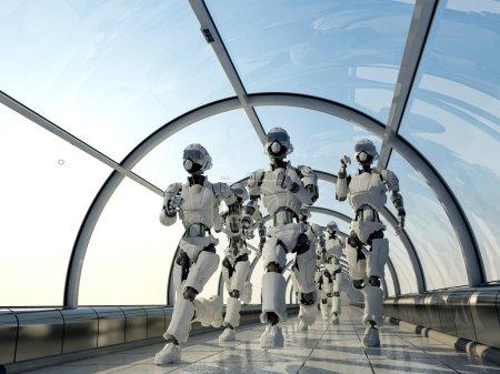 Photo pour Groupe de robots courant le long du couloir . - image libre de droit
