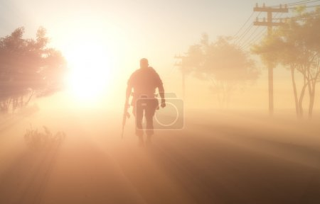 Photo for Silhouette of a soldier in the fog. - Royalty Free Image