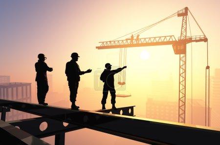 Photo pour Silhouettes des travailleurs dans le contexte de la ville . - image libre de droit