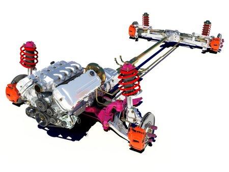 Photo pour Le cadre du véhicule avec le moteur sur fond blanc . - image libre de droit