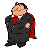 Illustration of the businessman posing like a superhero