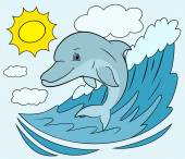 Illustration of the smiling friendly cute dolphin jumping out from the sea wave