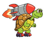 Illustration of the funny turtle on roller skates with rocket on its back