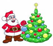 Santa decorating Christmas tree 2